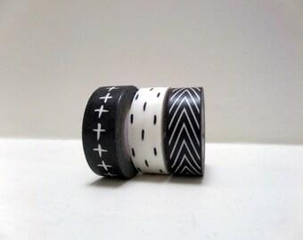 Black and White Washi Tapes. Cross. Plus sign. V. Chevron. Deco Tape. Japanese Masking Tape.