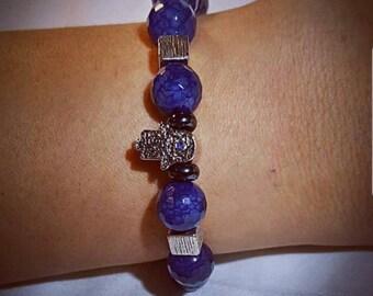Hamsa hand Blue veins agate bracelet
