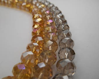 Your Choice Crystal Beads, Donut Bead, gold or smoke Faceted Crystals,, Large Crystal  Rondelle Beads, 8x5mm  1/2 strand 8 inch