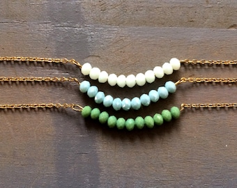 Dainty Beaded Necklace / Beaded bar Necklace / Dainty Necklace / Orendia / blue green white gold necklace / delicate necklace / layering