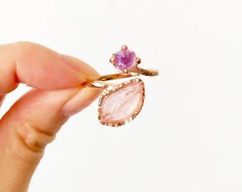 Rose quartz ring. Amethyst Ring. Rose Gold Rose Quartz Ring. Rose Gold ring. Mothers Day gift. Raw Crystal Ring. Rose Quartz Gold Ring. Raw.