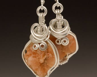 Pecos Diamond Quartz Crystal Cluster Sterling Silver Wire Wrapped Earrings - Ready to Ship!