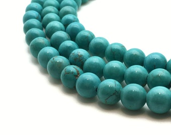 "Round Natural Turquoise Beads 4∼10mm Strand 15.5""-38cm Beads Turquoise Stone Turquoise Gemstone Turquoise Mala Turquoise Round Turquoise"