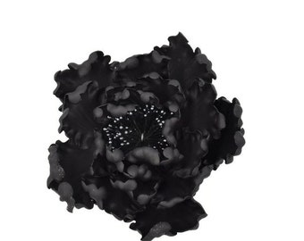 Black Open Peony Sugar Flower for wedding cake toppers and gumpaste decorations, birthday cakes, modern brides, bridal showers