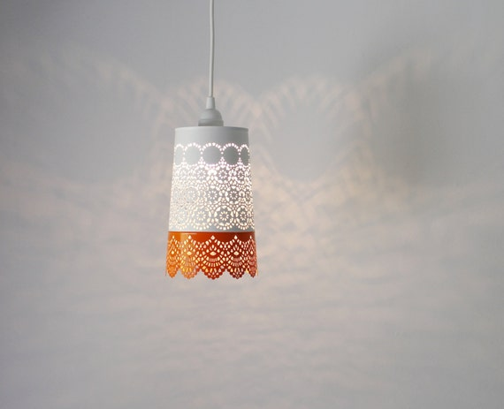 Orange white lace pendant lamp colorful hanging lighting