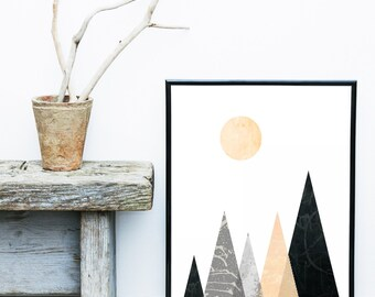 Triangle Print, Printable Art, Mountain Print, Geometric Art, Minimalist Poster, Geometric print,  Wall Art, Wall Decor, Instant download,
