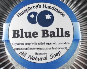 BLUE BALLS soap, Crude Sweet Blueberry Shave & Shampoo Soap, Round Blue Puck, Argan Oil, Aloe, Calendula, Beard Wash, Unisex Men's Women's