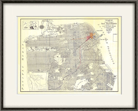 San Francisco map print map vintage old maps Antique map