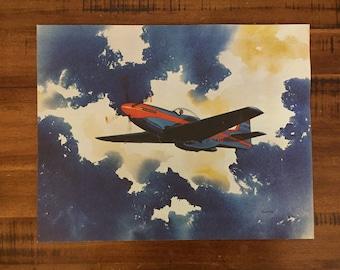 "Jet Lithograph/ Vintage Print/ Airplane Wall Art/ War/ Measures: 14"" x 11""/ Glafice"