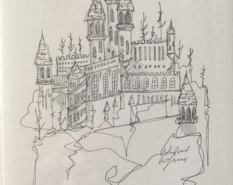 Castle B | Pen and Ink Drawing | Original Art