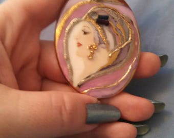 Hand Painted Flapper Girl Porcelain Pendant