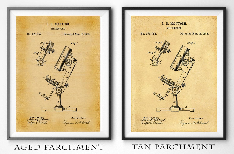 Patent 1883 Microscope Art Print - Poster - Hospital Wall Art ...