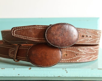 Vintage brown worn in leather belt with oval leather belt bucket size 36, vintage brown leather belt, hand crafted leather belt