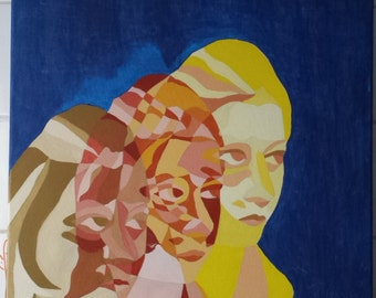 Self-portrait in blue background, painting, acrylic, hand-painted, art, artist, painter