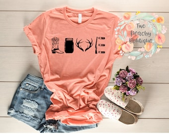 Love/ Country girl love/ cowgirl boots/ rifle shirt/ mason jar/ country love/ country girl shirt/ love shirt/ birthday present
