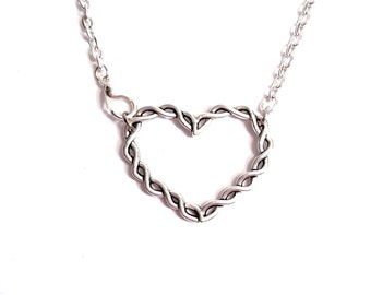Grief Sympathy Silver Twisted Heart Necklace   Sympathy Gift   Remembrance Jewelry