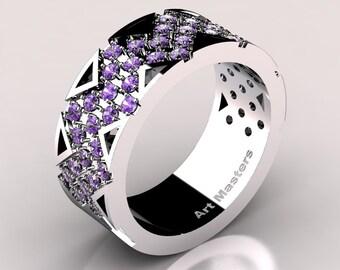 Womens Modern 14K White Gold Lavender Amethyst Wedding Band R805F-14KWGAM