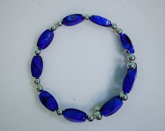 Royal Blue Memory Wire Bracelet with Silver Accents