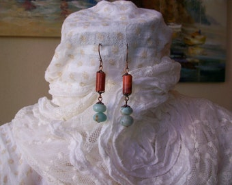 Ethnic earrings with coral and Amazonian, handmade, 6 cm