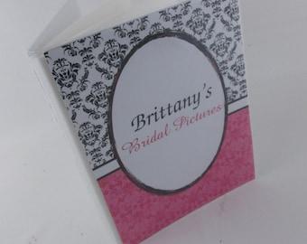 Wedding Photo Album Personalized Photo Album bridal shower photo album Bridal Shower Gift 4x6 photo album or 5x7 album Pink Black damask 364