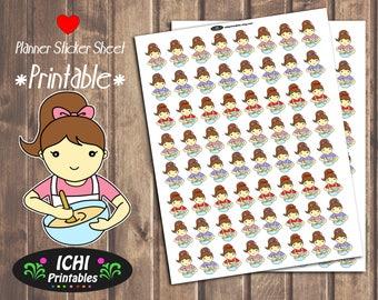 Baking Cooking Printable Planner Stickers, Baking Planner Stickers, Kawaii Brunette Girl Cook, Erin Condren, Life Planner, Functional
