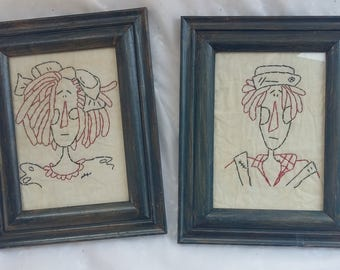 Hand Embroidered Wall Art Figures Decorative Embroidery