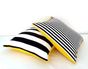 Black and White Striped Throw Pillow Cover, Thin Black and White Stripes With Yellow Back, Beach Cushion Design