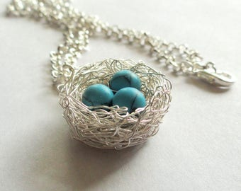 1,2,3,4,5,6,7,8,9,10,11,12,turquoise, eggs, on, nest, necklace, turquoise, bird nest pendant,one.egg,two, egg,robin birds nest necklace