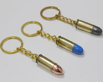 Keychain ammunition 9x21 copper/blue/lead nose