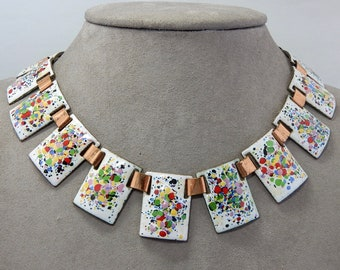 CORO Colorful Speckled Enamel on Copper Choker Necklace    PV45
