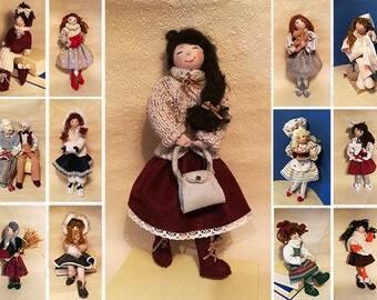 Doll with handbag, handmade and hand-sewn collection
