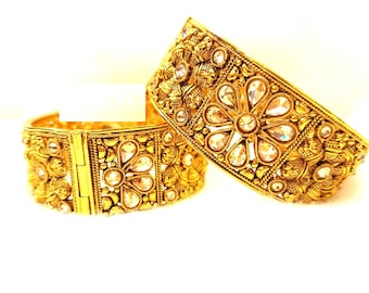 Kundan Indian Gold Look Bangles/Kada Hand Fashion Jewelry Beautiful Bollywood Look Fashion Jewelry