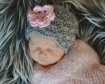 Baby Girl Hat, Newborn Beanie, Girl Toddler Hat, Baby Shower Gift, Coming Home Hat, Crochet Baby Hat, Baby Girl, Photo Prop, Baby Hat