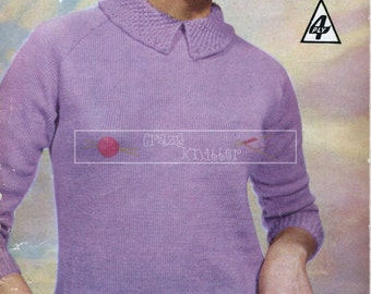 "Lady's Sweater Collar Pockets 4-ply 34-38"" Bestway 3774 Vintage Knitting Pattern PDF instant download"