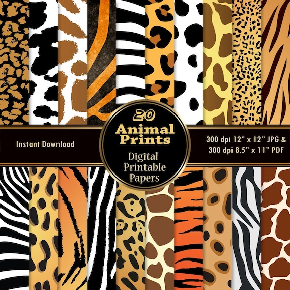 Animal Print Digital Papers 20 Digital Skin Texture Scrapbook Paper