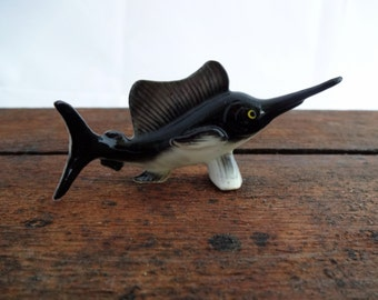 Deep Sea Fishing - VINTAGE - Miniature Swordfish Figurine  - Ocean - Bone China - Collectible