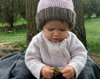 Knit Baby Pom Pom Hat | Dusty Pink | Brown | Ivory | Baby Boy | Baby Girl |