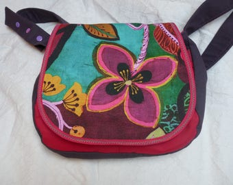 Messenger bag 2 in 1 fabric in shades of pink and purple with interchangeable flap
