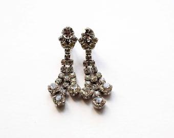 Vintage Clip On Earrings,  Clear Rhinestone Drop Clip On Earrings, 1950's