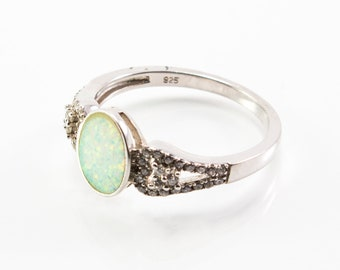 Oval-Shaped White Lab Opal Ring