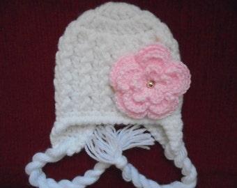 Baby girl winter hat Newborn earflap hat White newborn hat Baby girl hat Winter newborn hat Crochet baby hat Baby earflap hat Baby hat