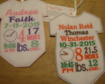 Personalized Onesie Bodysuit Birth Announcement Door or Wall Decoration Ornament Gift Tag