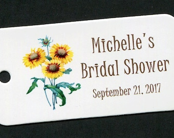 Personalized Bridal Shower Tag - Personalized Tag - Favor Tag - Gift Tag - Personalized Favor Tags - Thank You Tag - Sunflowers - Floral 10