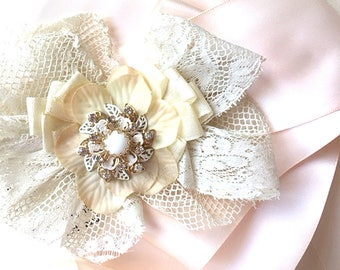 Bridal Belt - Wedding Dress Brooch - Bridal Brooch - Lace Flower - Sash Pin - Wedding Sash - Bridesmaid Dress Pin - Bow for Dress