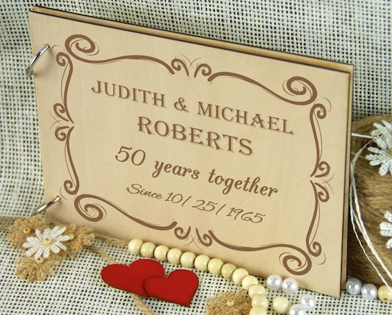 50 years golden anniversary album personalized wedding guest