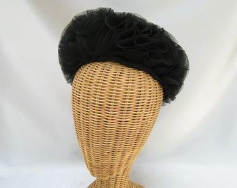 Vintage Ladies Hat Black Mesh Frilly Pillbox Norman-Paulvin