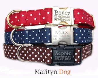 Swiss dots personalized dog collar dog ID tag Metal buckle dog collars Brown Navy Red cute girl boy dog collar Pet ID tag X'mas dog collar