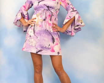 Vintage 60s 70s Cherry Blossom Empire Waist Flutter Sleeve Mini Dress (size small, medium)