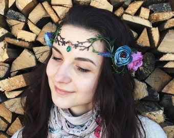 Fairy crown Elven tiara Medieval hair accessory Elven headdress Elves cosplay hair jewelry Elvish headpiece circlet Flower wedding hairpiece