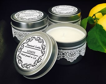 white lace candle/citrus candle/4oz tin